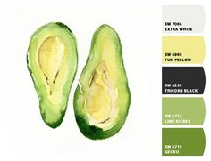 Avocado - Paint colors from Chip It! by Sherwin-Williams- Morning Room Paint Color Combos, Green Paint Colors, Exterior Paint Colors, Colours, Green Pallete, Green Colour Palette, Color Palettes, House Color Schemes, House Colors