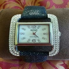 Badgley Mischka Watch Leather strap, swarvoski crystals, mother of pearl face. Authentic Badgley Mischka Accessories Watches