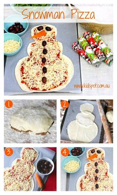 Snowman pizza recipe We may not get snow at Christmas in Australia, but that doesn't mean the kids can't make a snowman. Get into the festive spirit with these fun snowman pizzas.