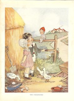 1920s Vintage Print Childrens  - Boy And Girl Talk To Small Man Sitting On Farmyard Fence. Ideal For Framing