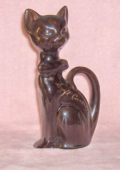 Pottery Dark Brown Tall  Cat Sitting up Vintage Figurine