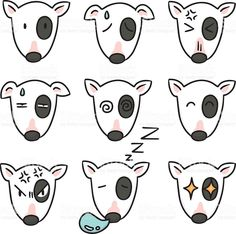 Find Vector Set Dog Faces Bull Terrier stock images in HD and millions of other royalty-free stock photos, illustrations and vectors in the Shutterstock collection. Best Dog Breeds, Best Dogs, Cartoon Dog, Dog Cartoons, English Bull Terriers, Art Journal Inspiration, Cute Art, Cool Drawings, Face