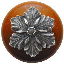 Notting Hill - Opulent Flower Wood Knob in Antique Pewter/Cherry wood finish