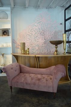 Dusty pink tufted velvet couch. This couch needs a gorgeous bride draped over its arms!