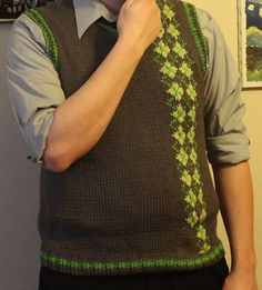 Super soft and comfy cotton/acrylic blend. Mostly gray with light green and dark green argyle. Fun asymmetrical design is perfect for the hip man in your life. Size: Approximately a men's large. Model is tall and 185 pounds Argyle Sweater Vest, Sweater Vests, Sweaters, Asymmetrical Design, Hand Knitting, Hobbies, Nyc, Design Inspiration, My Style