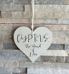 Hanging Wooden Heart Cyprus The Island Of Love by wordsignsdecor