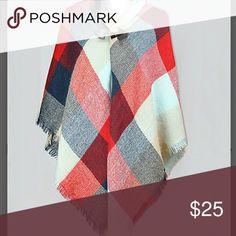SALE🍀 Plaid Blanket Scarf Wrap Toggle Shades of blue, tan and red make this such a beautiful accessory. Instant style with toggle closure. 100% acrylic. 54in x 54in. Accessories Scarves & Wraps