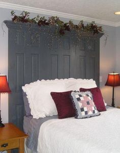Unique Headboards | Antique doors are used here to make an unusual one-of-