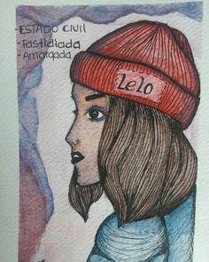 Estado civil Baseball Cards, Hats, Instagram, Marital Status, Watercolor Painting, Illustrations, Women, Hat, Hipster Hat