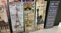 """Travel posters - stands about 30"""" tall - clearance $2.40."""