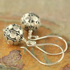 Flat disc sterling silver bali chic earrings