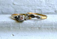 Lovely Vintage 14K Yellow Gold Two Ring Diamond Wedding Set - 0.40ct..  via Etsy.
