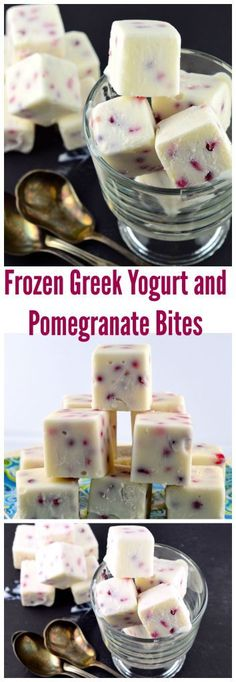 Frozen Greek Yogurt and Pomegranate Bites - You only need 3 ingredients for this easy to make healthy snack or appetizer. #Rosh Hashanah #pomegranates #snack #dessert #healthy #greek #Yogurt