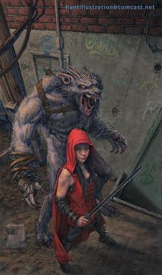 "Hood and Wolf: ""Ruff and Reddy"" by Jonathan Hunt Fantasy Creatures, Mythical Creatures, Dark Fantasy, Fantasy Art, Art Wolfe, Werewolf Art, Werewolf Legend, Red Ridding Hood, Drawn Art"