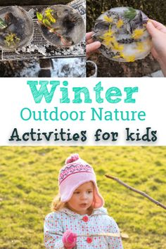 Nature Crafts Outdoor winter nature activities for kids. Fun things for kids to do outside during winter! Forest School Activities, Nature Activities, Sensory Activities, Preschool Activities, Winter Outdoor Activities, Outdoor Learning, Outdoor Play, Outdoor Education, Winter Kids