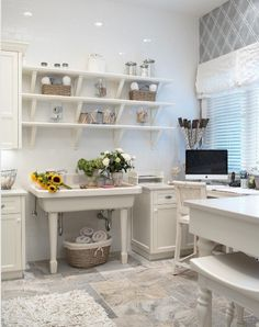 ♥ - grooming shop - love the white, the cabinets and shelves, the sink, desk - everything!