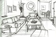 one point perspective drawing living room - Google Search: