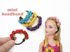 tutorial: flower headband for dolls Barbie Dolls Diy, Barbie Clothes Patterns, Crochet Barbie Clothes, Barbie Doll House, Diy Doll, Sewing Dolls, Girl Dolls, Doll Crafts, Clothing Patterns