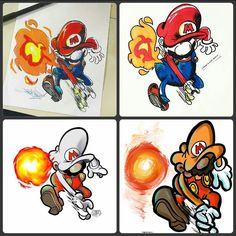 A gang of Super Mario drawings! Clockwise from the top left these were created by @1800getatom @i.have.a.cool.name @omarsalinasart and @haroartist.  So this is a cool little story of artists inspiring other artists. Back on November 23rd Adam Harris (@1800getatom) drew a great pen-and-ink illustration of Nintendos brave plumber superhero hurling a fireball probably at some unsuspecting koopa trooper.  Inspired by Adams piece @i.have.a.cool.name inked up a similar Mario in action and colored…