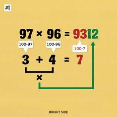 simple math tricks you'll wish you had always known Nine simple math tricks you'll wish you had always known - Why didn't they teach us these in school?Nine simple math tricks you'll wish you had always known - Why didn't they teach us these in school? Math For Kids, Fun Math, Math Games, Math Activities, Kids Fun, Math College, Math Formulas, Simple Math, Easy Math