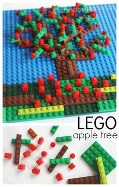 LEGO Apple Tree Mosaic STEAM Activity. Create a Fall mosaic with LEGO bricks and pieces. Engineering, building, design, math, fine motor skills and more! Fall craft activity for kids.