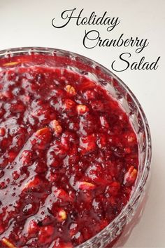Holiday Cranberry Salad - this gorgeous red salad is made the day before and keeps well for up to 3 weeks. It yields one gallon and you can easily divide it into portions and serve at various parties and gatherings. It's so good you just might get it confused with dessert!