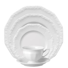 """Rosenthal - Maria white Set 5 pcs.    My """"Good"""" dinnerware.   It is no longer being shipped to North America.    Breaks my heart!    I am needing to replace a few pieces...   (have)"""