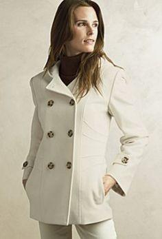 Calvin Klein Wool Cashmere Blend Peacoat Coats Women
