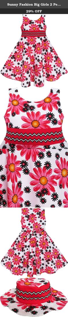 Sunny Fashion Big Girls 2 Pecs Dress Hat Flower Summer Party Holiday Princess, Red, 7-8. Dress set including summer hat. Zipper back. Machine washable. Knee length. Made in china. Following size means age ranges for girls, they are for general guidance only. For most accurate fit, we recommend checking detailed measurement before purchase.