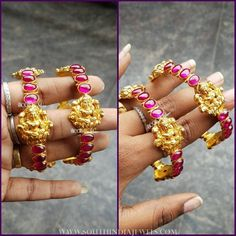 Gold Plated Antique Ruby Bangle From Bcos Its Silver ~ South India Jewels Gold Bangles Design, Gold Jewellery Design, Gold Jewelry, Fine Jewelry, Ruby Bangles, Diamond Bracelets, Buy Gold Jewellery Online, Bangle Set, Bangle Bracelet