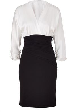 PAULE KA Whiteblack Draped Combo Dress