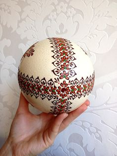 Ostrich Easter Egg decorated with Wax Traditional by VeryAndVery