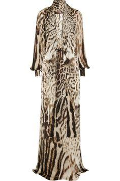 ROBERTO CAVALLI Tiered Printed Silk Maxi Skirt. #robertocavalli ...