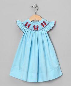 Love this Aqua Flip-Flop Smocked Bishop Dress - Infant, Toddler & Girls by Smocked Gems on #zulily! #zulilyfinds