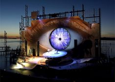 The world's most incredible floating stage is located on the shore of Lake Constance in Bregenz, Austria. Every two years, the stage gets completely redesigned for the Bregenzer performing arts festival.