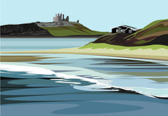 Items similar to LTD EDITION GICLEE. Scottish Coast Minimal contemporary archival art print, inspired modernist design - by Ian Mitchell on Etsy Landscape Prints, Landscape Art, Dunstanburgh Castle, Swiss Design, Gouache Painting, Vintage Travel Posters, Limited Edition Prints, Painting Inspiration, Printmaking