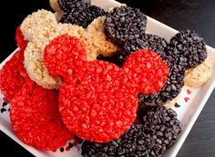 Mickey Mouse Rice Krispie Treats - We used a Mickey Mouse Cookie Cutter to make these adorable and yummy Rice Krispie Treats for a Mickey Mouse Birthday Party. It is a colorful and festive Disney party dessert that everyone will love.  Follow us for more fun Mickey Mouse Party Ideas.