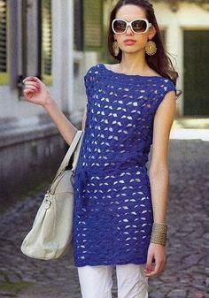 Long Blue Boatneck Top or Dress free crochet graph pattern