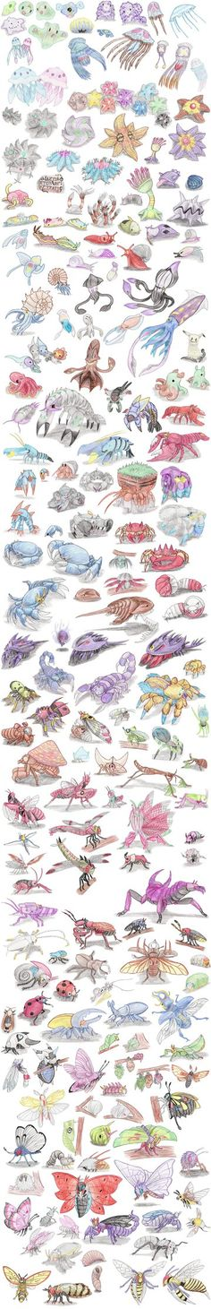 Invertebrate Pokemon by DragonlordRynn Pokemon Na Vida Real, Real Pokemon, Pokemon Fan Art, Mudkip, Bulbasaur, Plant Pokemon, Pokemon Sketch, Maleficent, Cool Drawings