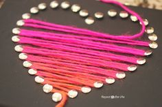 Yarn Heart Art - Repeat Crafter Me Hmm, Maybe take this idea & change it a little for kids to do. Valentine's Day Crafts For Kids, Crafts To Do, Arts And Crafts, Vbs Crafts, Valentine Day Crafts, Be My Valentine, Valentines Art For Kids, Printable Valentine, Homemade Valentines