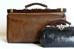Leather #Gladstone Bag  #Victorian #Doctors Bag vintage on Etsy