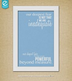 Our Deepest Fear  Coach Carter  Quote Poster by EHHDESIGNS on Etsy, $7.00