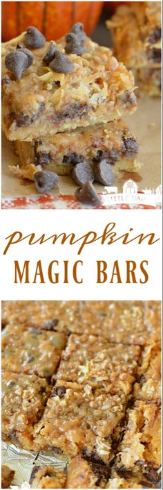 Fantastic Snap Shots Pumpkin Magic Bars are ooey, gooey, and magically simple and delicious! Ideas Pumpkin Magic Bars are ooey, gooey, and magically simple and delicious! They are the ultimate in co Mini Desserts, Cookie Desserts, Just Desserts, Delicious Desserts, Yummy Food, Unique Desserts, Delicious Chocolate, Dessert Oreo, Pumpkin Dessert