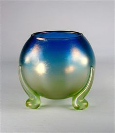 "* Koloman Moser, Johann Lötz Witwe, Klostermühle, Iridescent Glass Vase with applied feet. Decor: ""luna Optisch"""