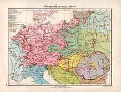 1926 Central Europe Languages Map Europe Antique by Craftissimo
