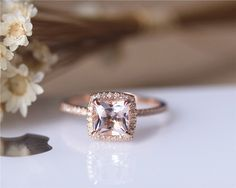 6.5mm Princess Cut Morganite Engagement Ring Solid 14K Rose gold Wedding Ring Anniversary Ring Bridal Ring Set Available by JulianStudio on Etsy https://www.etsy.com/listing/253803374/65mm-princess-cut-morganite-engagement