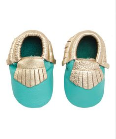 This Teal & Gold Metallic Fringe Leather Moccasin is perfect! #zulilyfinds