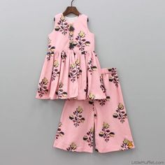 Pre Order: Peach Top With Palazzo Girls Dresses Sewing, Frocks For Girls, Little Girl Dresses, Little Girl Fashion, Kids Fashion, Fashion Design, Kids Frocks Design, Baby Frocks Designs, Kids Dress Wear