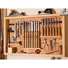 Rack for Chisels & Measuring Tools Woodworking Plan from WOOD Magazine musthavewoodworkingtools Essential Woodworking Tools, Used Woodworking Tools, Woodworking Projects For Kids, Lathe Tools, Woodworking Workbench, Wood Projects, Woodworking Furniture, Woodworking Classes, Popular Woodworking