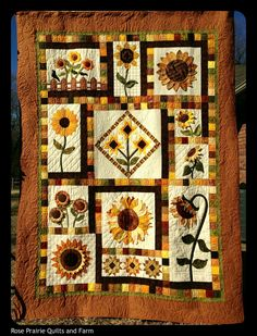 Rose Prairie Quilts and Farm: Sunflower quilt Quilt Block Patterns, Quilt Blocks, Quilt Kits, Quilting Projects, Quilting Designs, Sunflower Quilts, Sunflower Leaves, Country Quilts, Fall Quilts